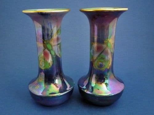 Rare Pair of Shelley 'Rich Butterfly' Lustre Vases by Walter Slater c1920