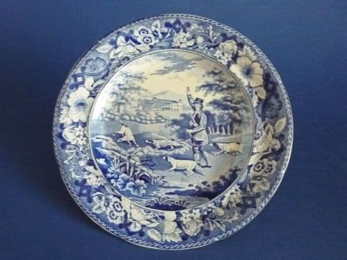 Rare Pearlware 'Game Keeper' Side Plate c1820
