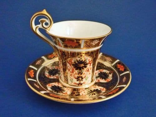Rare Royal Crown Derby 'Old Imari Japan' Pattern 1128 Empire Cup and Saucer c1915