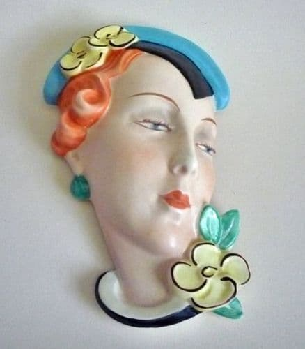 Rare Royal Dux Czechoslovakia 'Lady with Blue Hat and Yellow Flowers' Wall Mask c1930