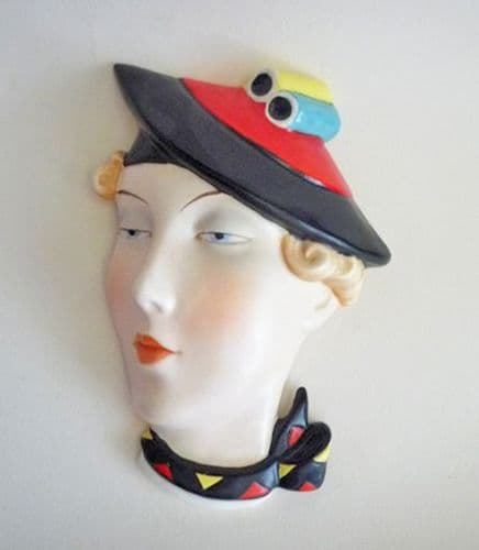 Rare Royal Dux Czechoslovakia 'Lady with Red and Black Hat' Art Deco Wall Mask c1930