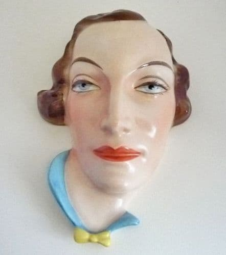 Rare Royal Dux Czechoslovakia 'Lady with Yellow Bow' Wall Mask c1930