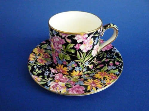 Rare Royal Winton 'Nantwich' Chintz Coffee Can and Saucer c1945
