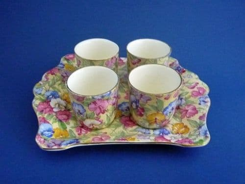 Rare Royal Winton 'Sweet Pea' Chintz Egg Cups with Tray c1940 (Sold)