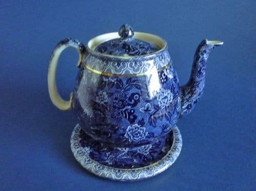 Rare Shelley 'Blue Dragon' Teapot and Stand c1910 (Sold)