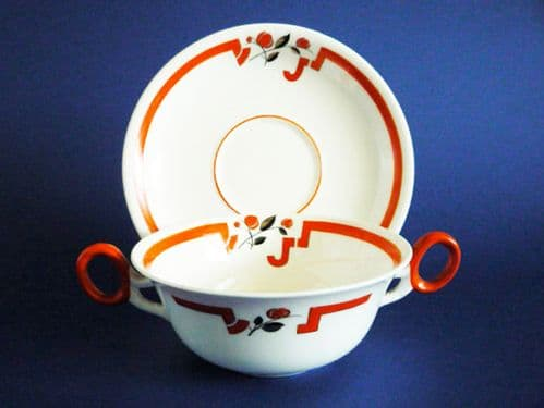 Rare Shelley 'Coral Red J' Soup Bowl and Saucer c1930 #2