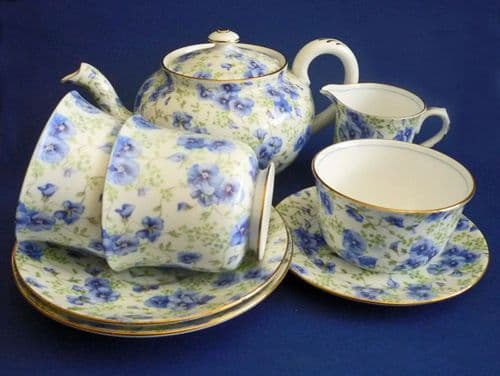Rare Shelley Fine Bone China 'Blue Pansy' Chintz Tea for Two Set c1939 (Sold)