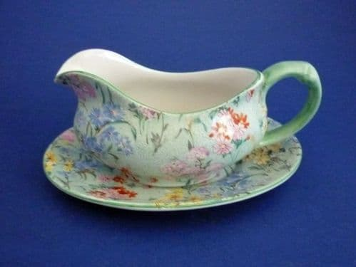 Rare Shelley 'Melody' Chintz Sauce Boat and Stand c1935