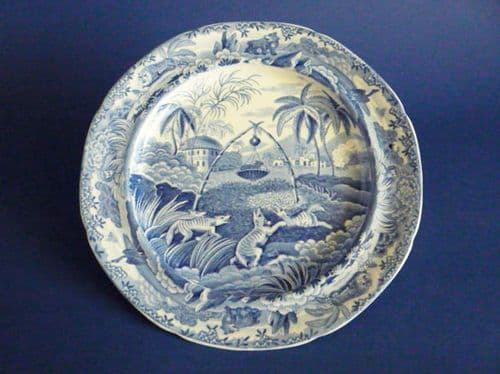 Rare Spode Indian Sporting Series 'Common Wolf Trap' Twiffler or Dessert Plate c1815