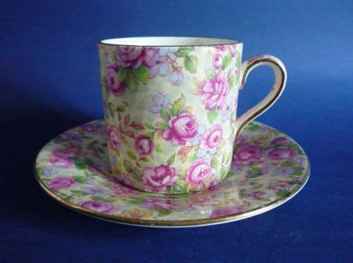 Rare Vintage Grimwades Royal Winton 'English Rose' Chintz Coffee Can and Saucer c1951
