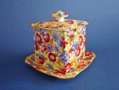 Rare Vintage Royal Winton 'Royalty' Chintz Preserve Pot and Stand c1945