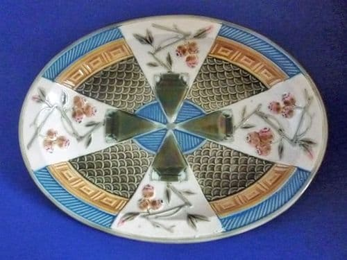 Rare Wedgwood Majolica 'Luther' Aesthetic Movement Oval Platter c1887