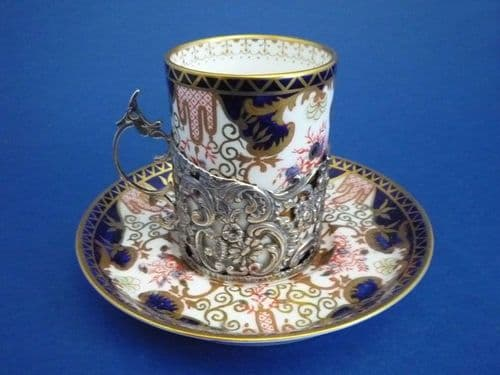 Royal Crown Derby Imari Pattern 3788 Coffee Can and Saucer with Silver Holder c1907