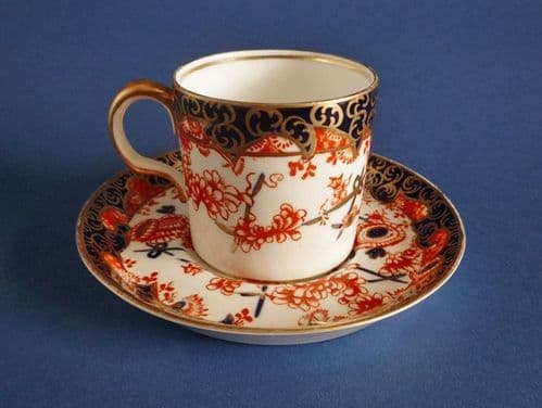 Royal Crown Derby 'Imari Scissors' Pattern 2649 Coffee Can and Saucer c1919