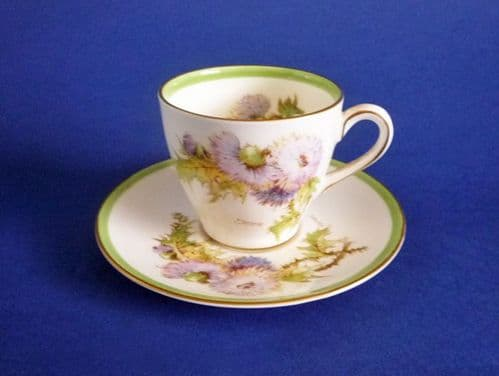 Royal Doulton 'Glamis Thistle' Coffee Cup and Saucer by Percy Curnock c1951 #1