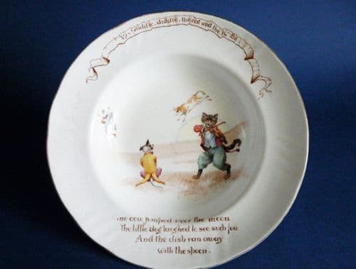 Royal Doulton 'Hey Diddle Diddle, The Cat and The Fiddle' William Savage Cooper Child's Dish c1910