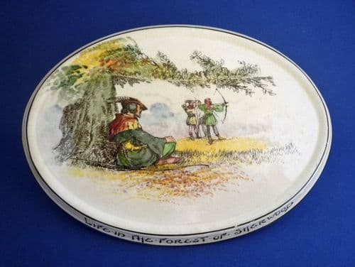 Royal Doulton Under the Greenwood Tree 'Life in the Forest of Sherwood' Teapot Stand c1915