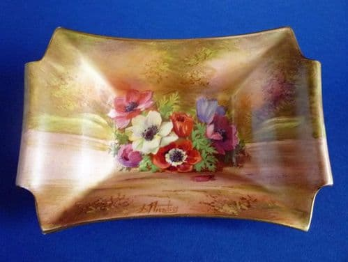 Royal Winton Hand Painted 'Anemone' Dish signed D. Austin c1945