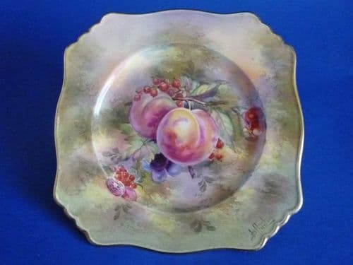 Royal Winton Hand Painted 'Fruit' Cake Plate signed D. Austin c1954