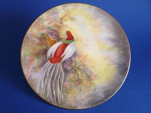 Royal Winton Hand Painted 'Game Birds' Cabinet Plate signed D. Austin c1957