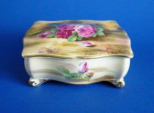 Royal Winton Hand Painted 'Roses' Candy Box signed F. Ardly c1951