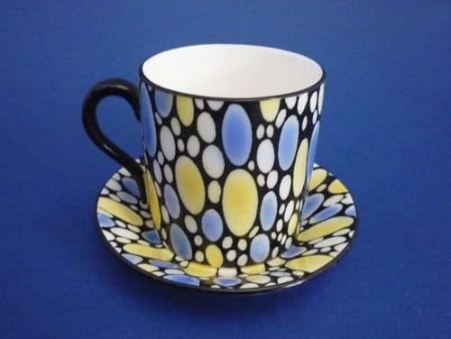 Shelley 'Bubbles' Mocha Coffee Can and Saucer c1925 #1