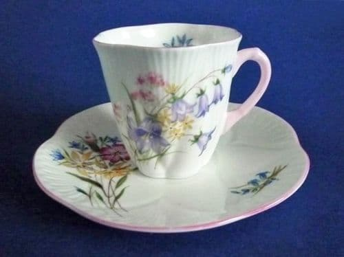 Shelley Fine Bone China 'Wild Flowers' Pattern 13668 Dainty Coffee Cup and Saucer c1950 #2