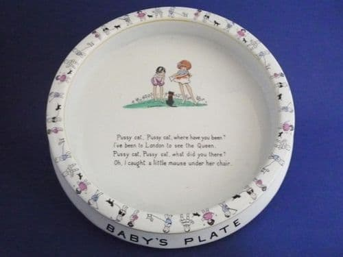 Shelley Hilda Cowham 'Pussy Cat, Pussy Cat Where Have You Been?' Nursery Ware Baby's Dish c1925