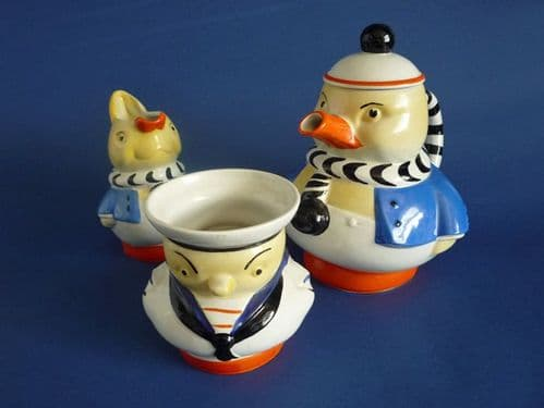 Shelley Mabel Lucie Attwell Animal Set - Duck Teapot, Rabbit Jug and Chicken Sugar Bowl c1930