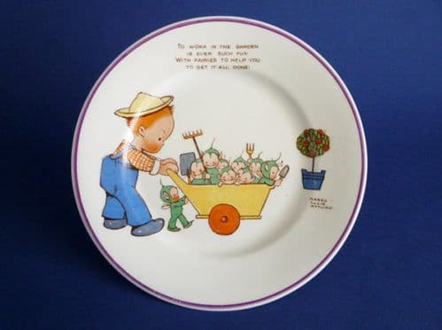 Shelley Mabel Lucie Attwell Child's Tea Plate 'To work in the garden, is ever such fun' c1935