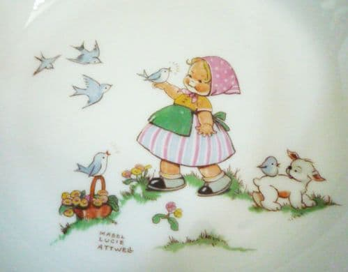 Shelley Mabel Lucie Attwell Nursery Ware 'Little blue bird how he sings' Bone China Bowl c1945