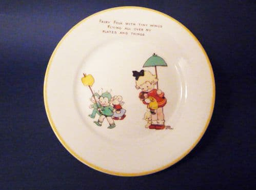 Shelley Mabel Lucie Attwell Nursery Ware Tea Plate 'Fairy Folk with Tiny Wings' c1934
