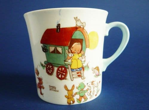 Shelley Mabel Lucie Attwell 'There was a little man, Lived in a caravan' Bone China Mug c1950 (Sold)