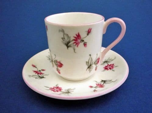 Shelley 'Pink Charm' Miniature Cup and Saucer c1939