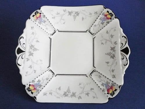 Shelley Queen Anne 'Peaches and Grapes' Pattern 11498 Cake Plate c1926