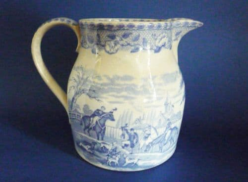 Staffordshire Pottery Blue & White 'Hunting Scene' Pitcher c1830