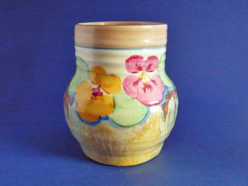 Stunning Clarice Cliff Bizarre 'Delecia Pansies' 565 Shape Ribbed Vase c1934 #2