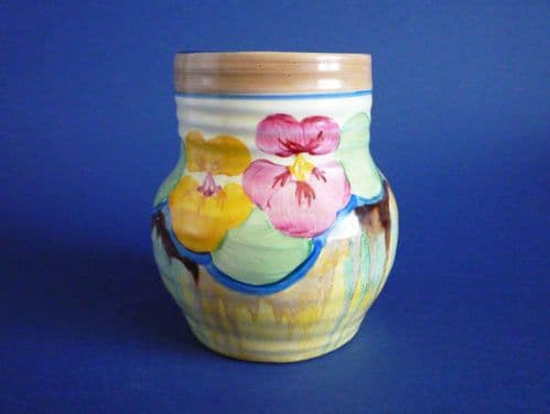 Stunning Clarice Cliff Bizarre 'Delecia Pansies' 565 Shape Ribbed Vase c1934