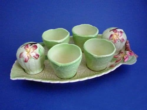 Superb Carlton Ware Green 'Apple Blossom' Egg Cup Cruet and Stand c1938