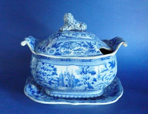 Superb Early John and William Ridgway 'Angus Seats' Pattern Sauce Tureen & Stand c1815