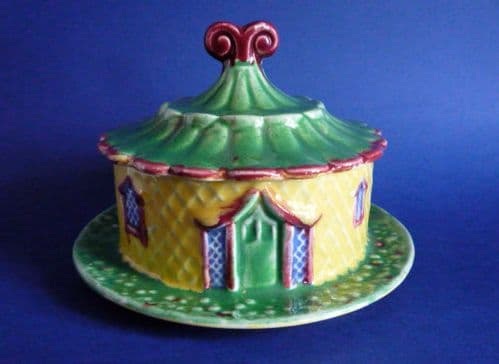 Superb Early Shorter & Son Majolica 'Pagoda' Butter Dish & Cover c1920