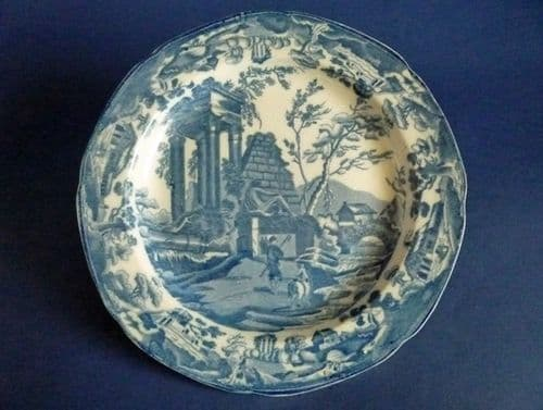 Thomas Lakin 'Classical Ruins' Pearlware Dinner Plate c1815 (Sold)