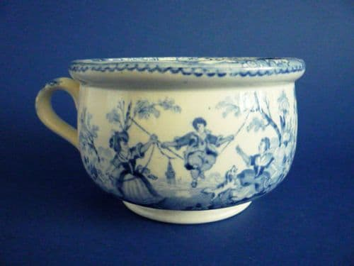 Unusual Blue and White 'Boy on a Swing' Vomit or Spitting Pot c1840