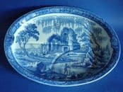 Unusual Davenport 'Fisherman' Series Tree and Well Oval Dish c1820