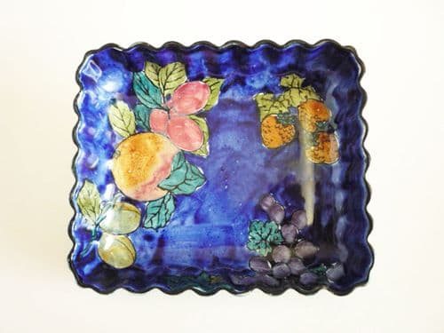 Unusual Hancock's Blue 'Titian Ware' Fluted Dish by F. X. Abraham c1930