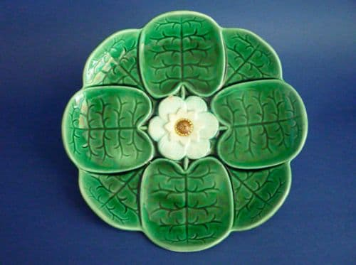 Unusual Small Adams and Bromley Majolica 'Water Lily' Plate c1880
