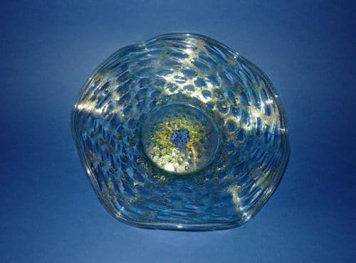 Venetian Green Glass Crimped Dish with Gold Patination c1930