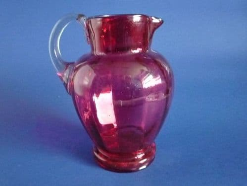 Victorian Cranberry Glass Ribbed Water Jug c1890