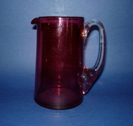 Victorian Straight Sided Antique Cranberry Glass Jug c1890