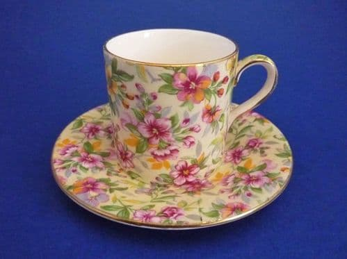 Vintage Royal Winton 'Estelle' Chintz Coffee Can and Saucer c1952